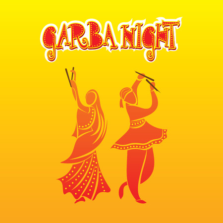 religious event: creative graba night, dandiya dance playing in navratri festival poster design