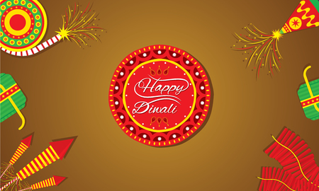 A beautiful greeting card with decorated cracker diwali festival celebration design Illustration