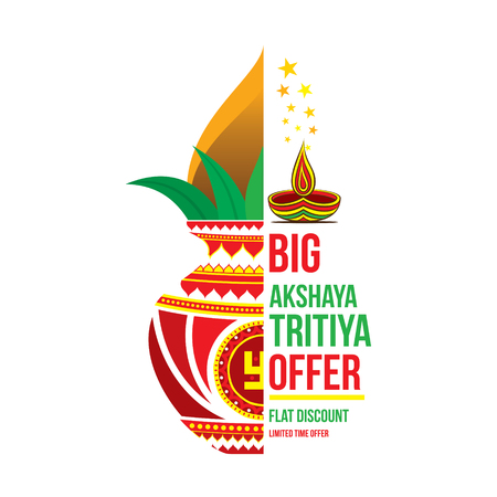 big akshaya tritiya offer poster design, pot with coconut Illustration