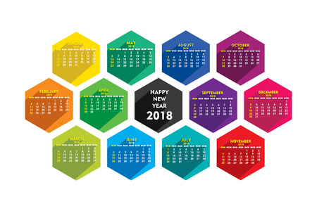 creative hexagonal shape new year 2018 calendar 2018 template design