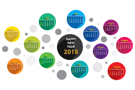 creative round shape new year 2018 calendar 2018 template design
