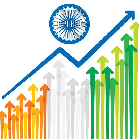 Feliz día de la República de la India, gráfico de crecimiento de diseño con ilustración de vector tricolor
