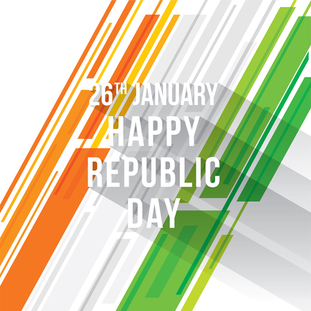 Happy republic day of India banner design tricolor strips vector illustration