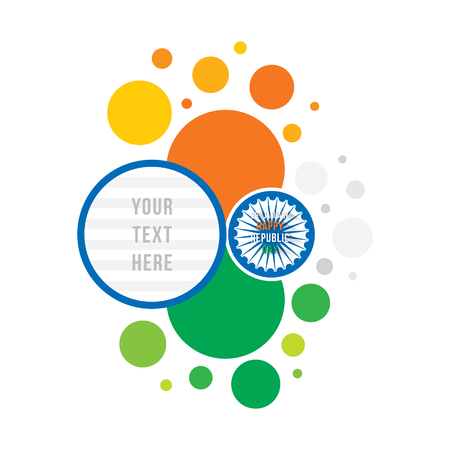 Happy republic day of India banner design, tricolor circle pattern with space to write your text Vettoriali
