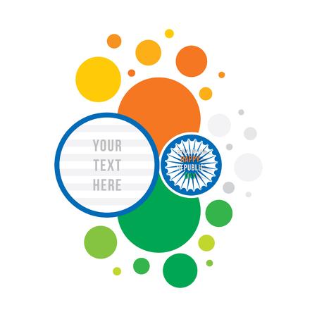 Glücklicher Republiktag des Indien-Fahnendesigns, dreifarbiges Kreismuster mit dem Raum, zum Ihres Textes zu schreiben Standard-Bild - 91262455