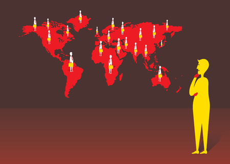 Businessmen directly communicate with global client; People and map in silhoutte illustration.
