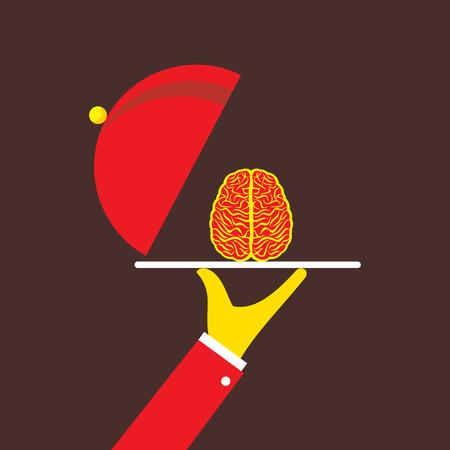 Businessmen serving idea on plate, or genius brain. Illustration