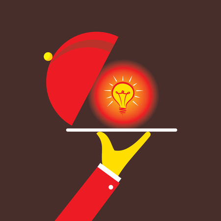 Men serve idea on eating plate, new idea concept design; lightbulb on plate
