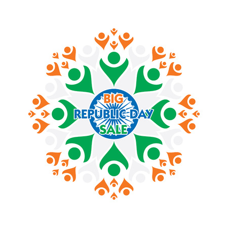 Big Indian republic day or sale banner design, unity concept. Ilustracja
