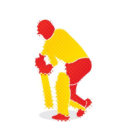 Cricket player hitting big shoot concept design. Illustration