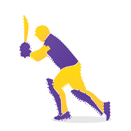 Cricket player hitting shoot and go for take run design. Illustration