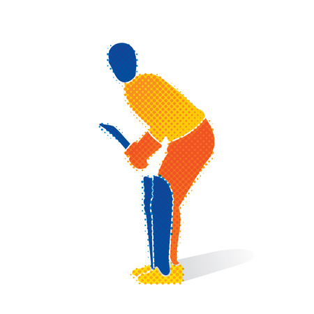 Cricket player ready for hitting big shoot concept design.