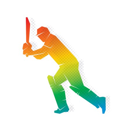 Colorful cricket player hitting big shoot concept design. Vectores