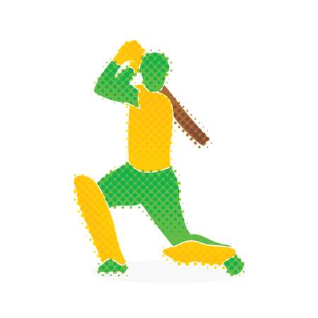 Cricket player hitting big shoot concept design. Illustration