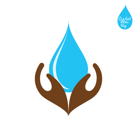 happy water day poster, water drop under hand Illustration