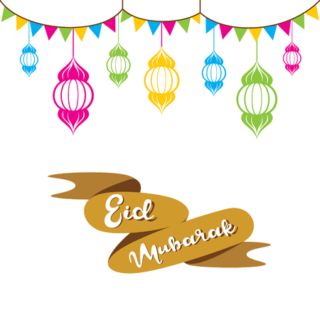 creative colorful Eid Mubarak Festival greeting design