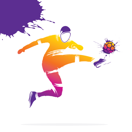 abstract colorful soccer player kicking ball vector