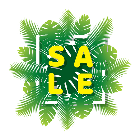 summer sale banner design with green palm leaves