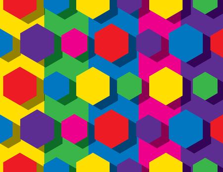 colorful hexagonal pattern background design Çizim