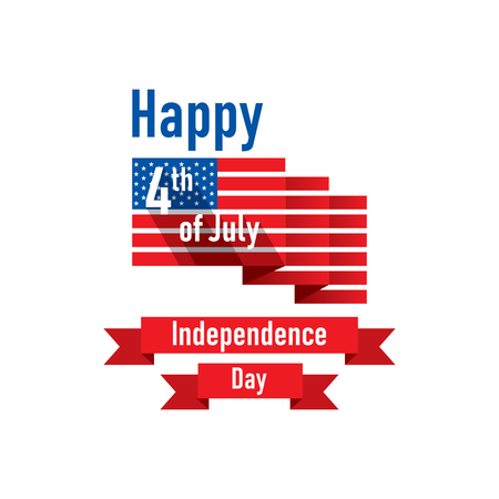 4th of july USA independence day greeting card, national flag design Illustration