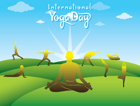 creative poster design of International yoga day with different yoga poses
