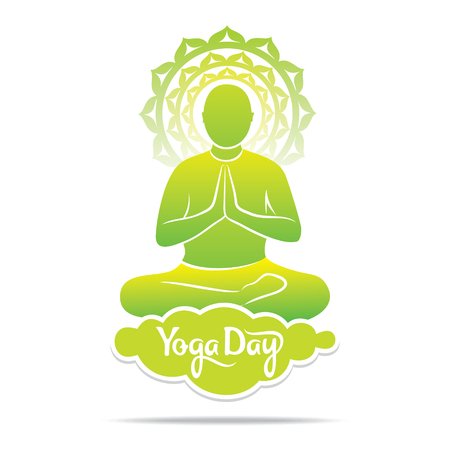 young yoga men practice lotus pose, yoga day concept design