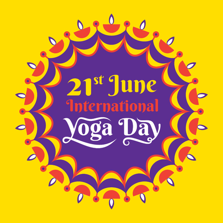 International yoga day celebrate on 21 june poster design Illustration