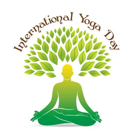 creative poster design of International yoga day celebrate 21 june, men doing yoga meditation