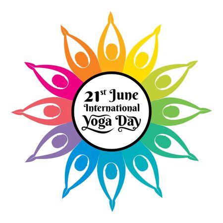 world international yoga day celebration poster design Ilustrace