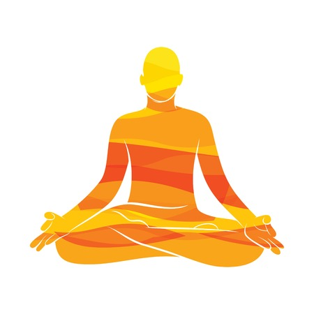 Los hombres jóvenes practican la postura del loto de yoga, diseño de concepto de meditación