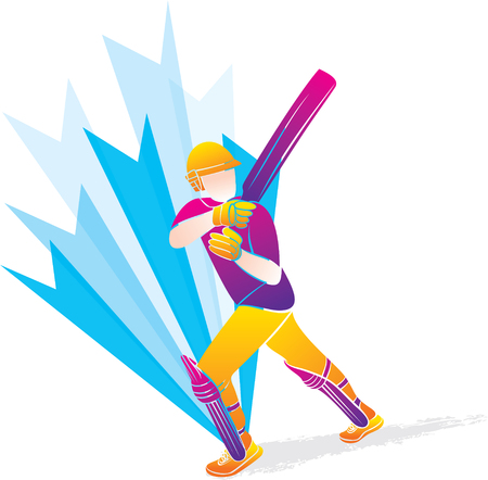 cricket player hitting big shot position, cricket player illustration Illustration
