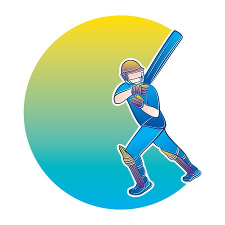 cricket player hitting big shot, cricket player illustration