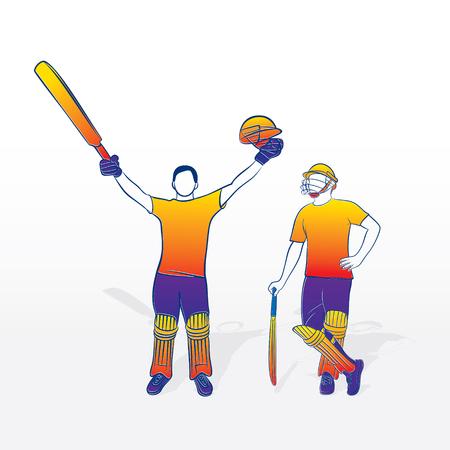 cricket player celebrate century, player up bat and helmet to celebrate success Illustration
