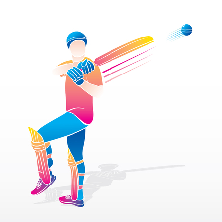 cricket player hitting big shot, colorful cricket player illustration Illustration