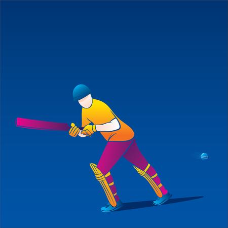 colorful cricket player hitting big shot, cricket player illustration Illustration