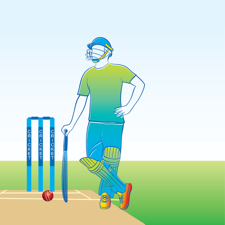 cricket player ready for batting, stump and ball