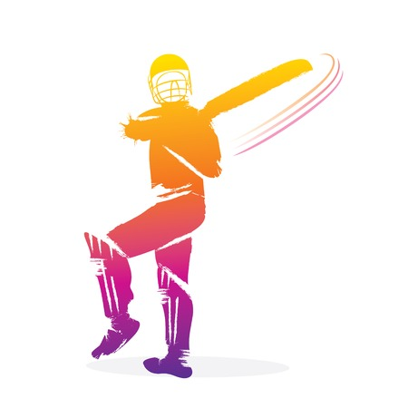 cricket player hitting big shot , player design by brush stroke Illustration
