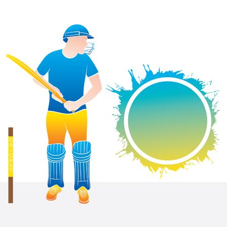 jugador de cricket listo para golpear el gran tiro, redondo colorido splash en blanco para escribir su texto