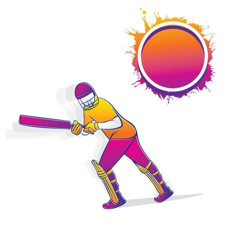 colorful cricket player hitting big shot, cricket player illustration, write your text on color splash Illustration