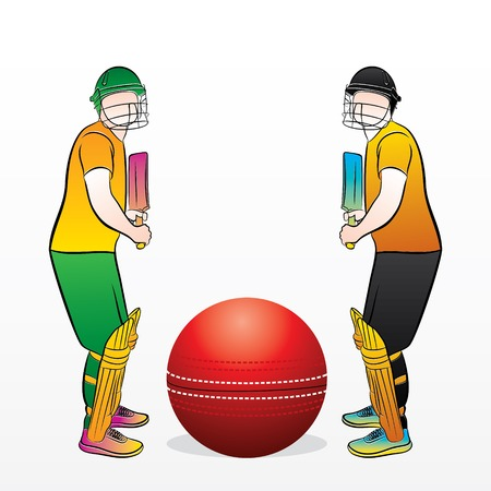 two cricket team ready for match, write your text on ball 矢量图像