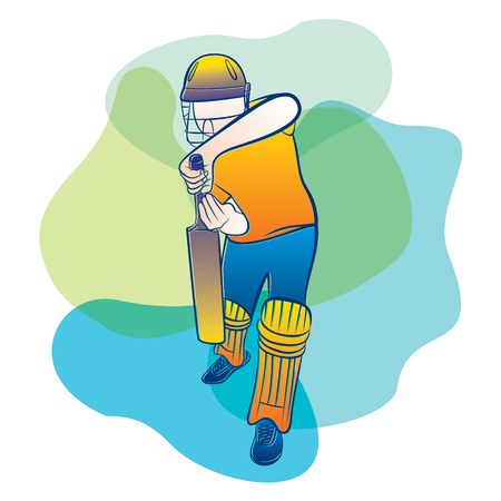 cricket player ready for defend position, cricket concept design Illustration