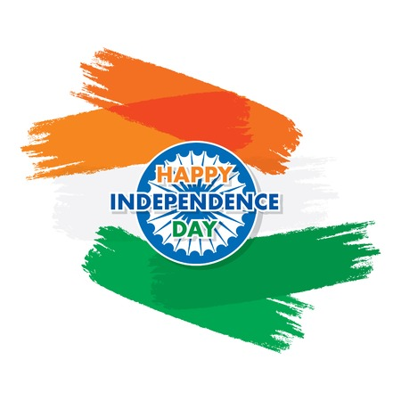 independence day of india, 15th of august greeting design, brush stroke