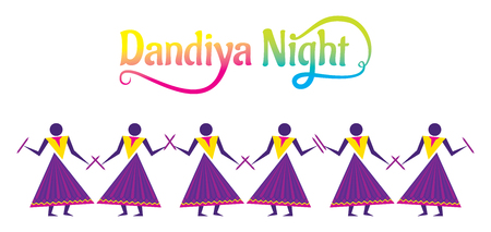 Celebrate navratri festival with dancing garba by group of people design vector illustration.
