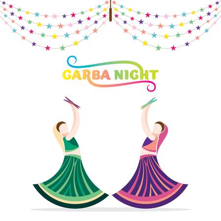 Celebrate navratri festival with female friend dancing garba design vector illustration.