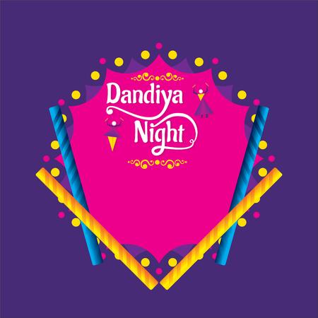 Creative Poster Or Flyer Of Dandiya night Invitation Card Background. Illustration