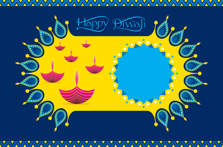 colorful decorated diya for Happy Diwali holiday of India poster design
