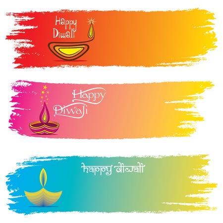 illustration vector of lighting diya, diwali festival header design Illustration