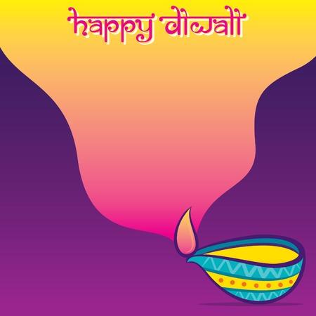 colorful decorated diya lighting, Happy Diwali holiday of India poster design Illustration