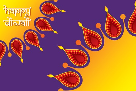 creative indian festival diwali greeting design by colorful diyas concept