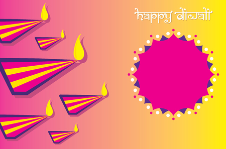 colorful decorated diya for Happy Diwali festival poster design